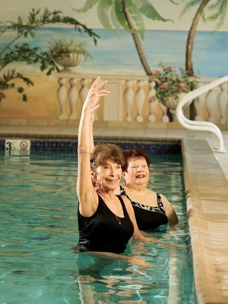 Pool fitness instructor and resident