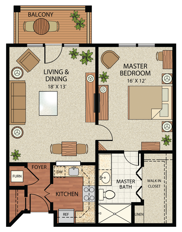 One-Bedroom Residence (Plan A) | The Gatesworth